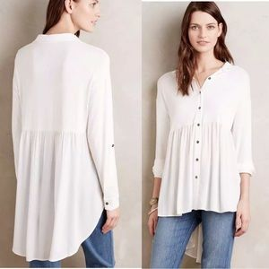 Anthropologie Everleigh White Flowy High Low Top